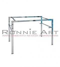 Rectangular Medium Table 120x 90x 60cm Structure in Tube with Shelf in Panelling White