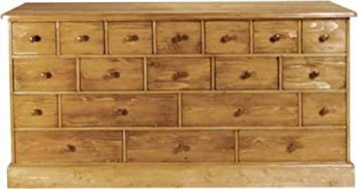 Wye Pine Merchant Chest 19 Drs - Finish: Unfinished - Stain: Waterbased