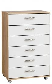 Treat Your Home Rebello 6 Drawer Chest, Wood, Black Carcuss/White Gloss Fronts