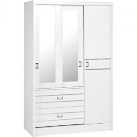 Seconique Jordan 3 Door 2 Drawer Sliding Mirrored Wardrobe, White