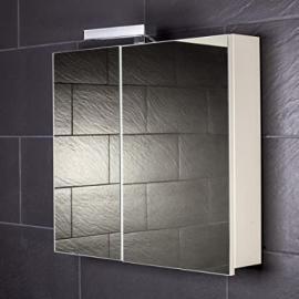 Galdem START70 Mirrored Bathroom Cabinet 70 cm / 2 Doors / Halogen Lighting / Soft Close Function / European Electrical Socket / Also Suitable for Hallways