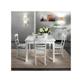 110 x 110 Extending Table Modern Country Design White Solid Wood – -as photo White and Ivory