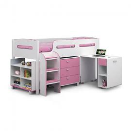 kids kimbo cabin bed with storage in white & pink finish