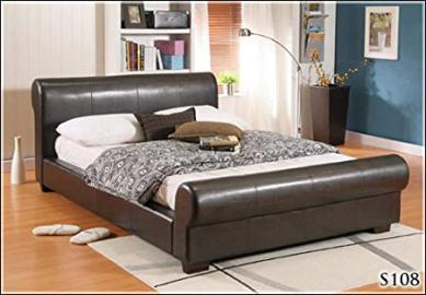 """NEW 4ft 6"""" FAUX DOUBLE BROWN LEATHER SCROLL SLEIGH BED FRAME AND SLUMBER SLEEP VENUS SPRUNG MATTRESS"""