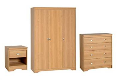 Seconique Regent 3 Piece Bedroom Set - Regent 3 Door Wardrobe + 4 Drawer Chest + 1 Drawer Bedside Cabinet - Teak Colour
