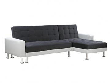 Convertible Angled Corner Sofa Theo - White and Grey - 4 places