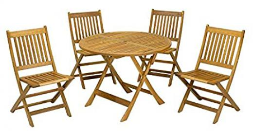 Round 4 Seater Wooden Dining Set With Folding Chairs - This Strong and Durable FSC® Acacia Wood Provides A Stunning Garden Furniture Set Which Is Perfect For Outdoor Living (Honey) - 90cm Round Table (Folding)