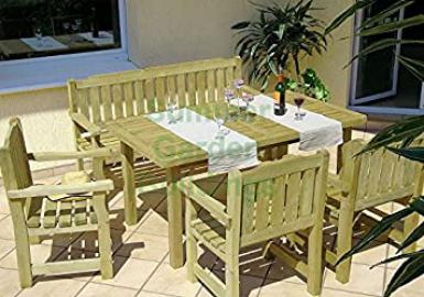 6 Seat Wooden Furniture Suite - Pressure Treated Timber- 2 Benches, 2 Chairs & Table