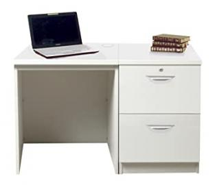Home Office Furniture UK SET-04-IN-WH Desk Drawer Unit Laptop Table Filing Cabinet Kids Small Set, Wood, White, Satin Profile