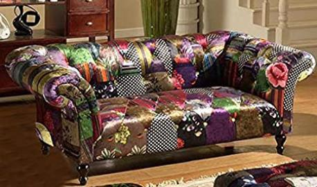 Lovesofas Anna Scroll Chesterfield 2 Seater Fabric Patchwork Sofa