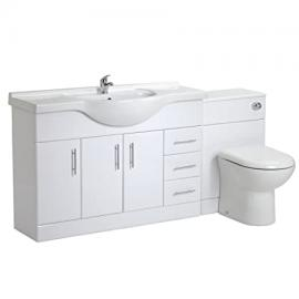 Trueshopping Bathroom 1200mm White Gloss Vanity Storage Unit Basin Sink & 500mm BTW Furniture Pack With Choice Of Toilet Pan Opt 8