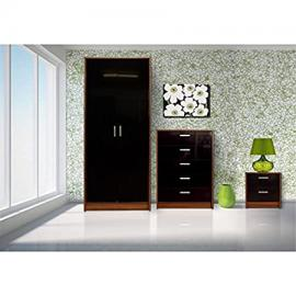 Khabat 2 Door Plain 3 Piece Set Black/Walnut + Pablo 4ft Small Double Black Standard Bed