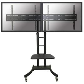 """Newstar Mobile Dual TV Floor Stand for two 32""""-70"""" Screens, Height Adjustable - Black"""