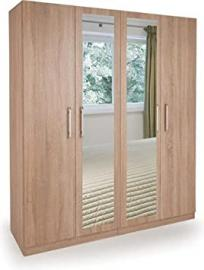 Holborn 4-Door Mirror Wardrobe, Wood, Oak