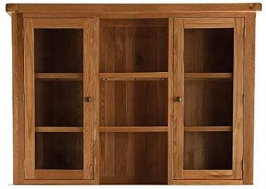 Pembroke oak furniture large dresser top with glass doors