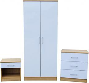 Vienna High Gloss and Oak 3 Piece Bedroom Set | White