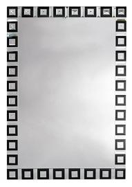 Contemporary Venetain Geometric Black and Clear Mirror