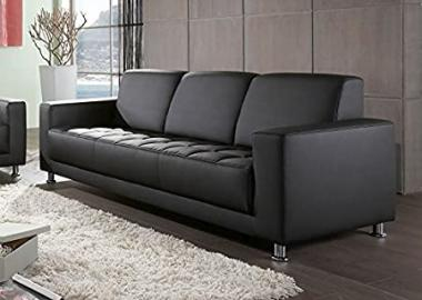 Washington Sofa 3Seater Black Faux Leather