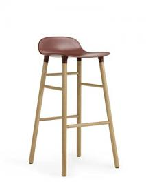Normann Form Barstool Oak - High - Seat height: 75 cm, Red