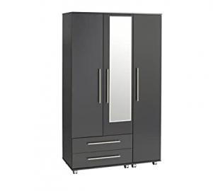 Treat Your Home Brandy 3 Door and 2 Drawers Plus Mirror Wardrobe, Wood, Black