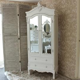 Shabby French Chic Antique White Painted Mirror Closet - Perfect Mirror Closet for any Bedroom or Bathroom