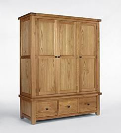 Devon Oak Triple Wardrobe + Drawers