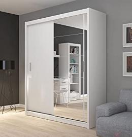 FADO large white mirrored 2 door wardrobe closet with sliding doors mirror shelves hanging clothes rail bedroom hallway furniture