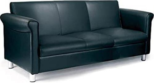 1st quality leather faced three seater Reception Sofa - black