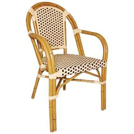 Cream and Brown. Height: 820mm Continental Bistro Wicker Armchairs 820mm (Pack of 4)
