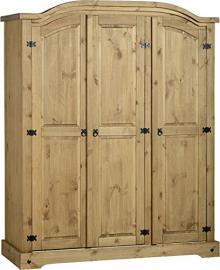 Corona 3 Door Wardrobe With Shelfs & Hanging Space Mexican Solid Pine