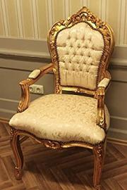 baroque armchair carved in gold-hellbeige louis pre victorian antique style rococo AlCh0690AGoBg