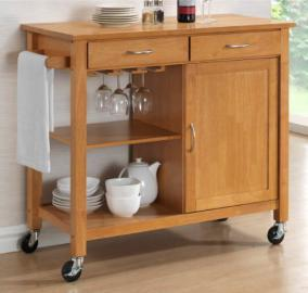 Harrogate Natural Hevea Hardwood Kitchen Trolley Island Oak Finish Large Island Cart 105cms