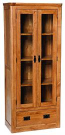 London Solid Oak 2 Door Large Glass Display Cabinet in Dark Oak Finish | Wooden Storage Cupboard with Shelves