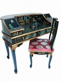 Black Laquered Writing desk and Chair