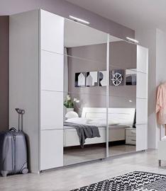 SlumberHaus German Modern Davos White Chrome 270cm Sliding Slider Door Mirrored Wardrobe