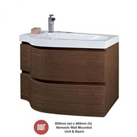 Nemesis Wenge Wall Mounted Unit & Basin - 800mm(w) x 530mm(h) x 460mm (d)