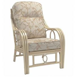 Classy Beige Elegant Comfortable Armchair - High Quality Fabric Upholstery - Triple Frame Armrests - Laminated Rattan Poles