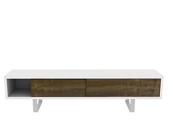 TemaHome Wood And Metal Honeycomb Panel Plus Metal Legs Slide TV Table Metal Legs with White Matte Plus Walnut Veneer Doors, 198 x 45 x 48 cm, White