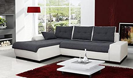 "CORNER SOFA ""PARIS"" WITH PULL OUT BED, Base: White faux leather Madryt 120, seat & cushions: Grey Sun 96. Left corner position. Fast Delivery!!!"
