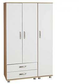 Ideal Furniture 3 Door Plus 2 Drawer Wardrobe, Wood, Sonoma Oak Carcass/White Gloss Fronts
