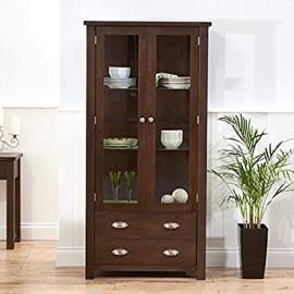 Sandringham Solid Wood Oak Display Unit (Colours Oak/Dark Oak Rustic)