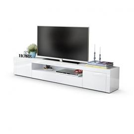 TV Unit Stand Santiago V2, Carcass in White High Gloss / Front in White High Gloss
