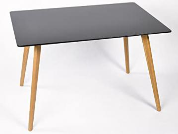 Simla Scandinavian Dining Table, White, black, 120 x 80 cm