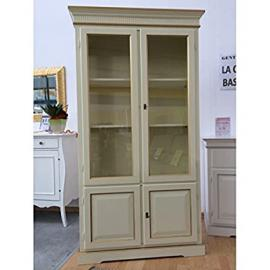 Display Cabinet Bookcase 2Doors Wood Ivory Border Gold–As Photos White and Ivory