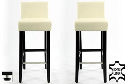 2x Barstools wood White REAL LEATHER adjustable floor glides upholstery
