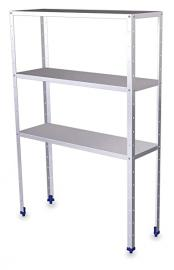 "Shelf (L) 100- 175- (L) x 15.7 ""H With 3 Levels Stainless Steel Shelves depaisseur 0.8 mm"