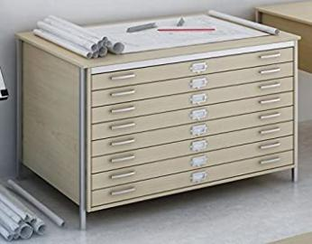 OAK A1 8 DRAWER PLAN CHEST STORAGE TABLE FURNITURE FOR MAPS, ARCHITECT, ARTIST, DRAWINGS, BUSINESS, SCHOOLS OR HOME