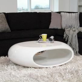 SPaCE Design Couch / Coffee Table High-Gloss White, 100 x 70 CM oval