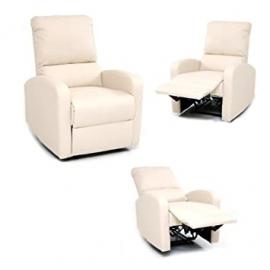 087ss-Armchair Recliner with Footrest, Cream
