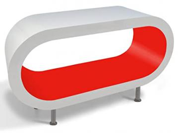 White and Pillar Box Red Hoop Coffee Table / TV Stand in Various Sizes